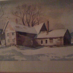 Clark's Mother's Painting of House they moved to in Cooperstown.JPG